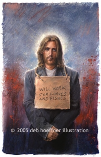 Homeless Christ by Deb Hoeffner, used with permission, and available for purchase at DebHoeffner.com