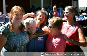 Back to School volunteers Amber Genevieve Pat Kristi Barbara